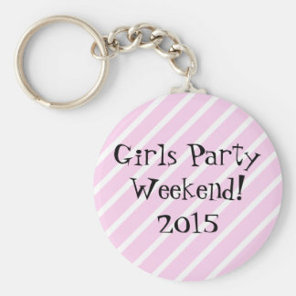 Girls Party Weekend Basic Round Button Key Ring