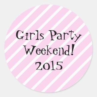 Girls Party Weekend Round Sticker