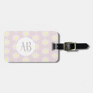 Girls Pastel Daisy Flower Pattern Monogram/Address Luggage Tag