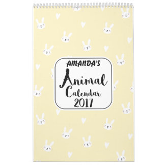 Girls Personalised Cute Animals 2017 Calendar