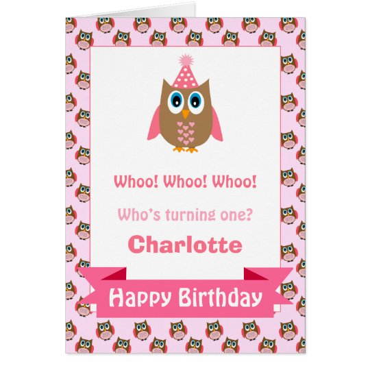 Girls Personalised Owl Birthday Card