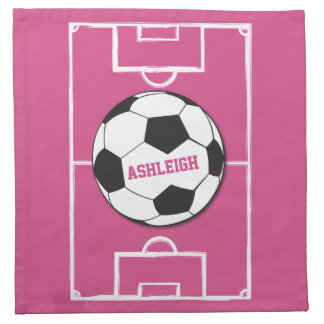 Girls personalised Soccer ball on pink field Napkins