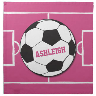 Girls personalised Soccer ball on pink field Printed Napkin