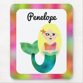 Girls Personalized Blonde Faux Foil Mermaid Kids Mouse Mat