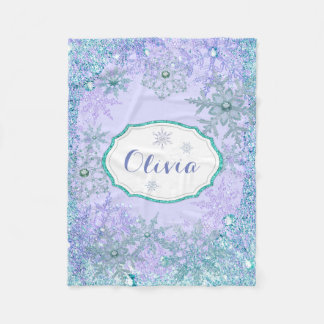 Girls Personalized Frozen Snowflake Fleece Blanket