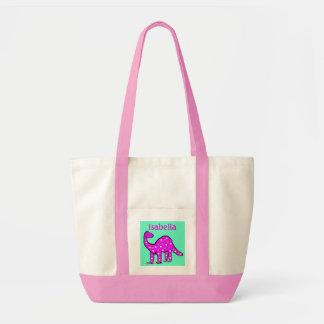 Girls Personalized Pink dinosaur Monogram Tote Bag