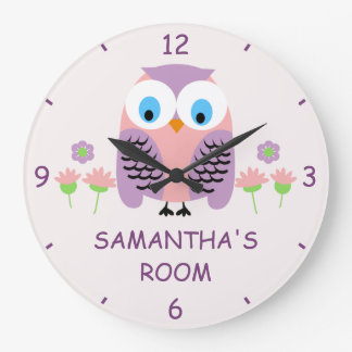 Girls Personalized Purple Owl Wall Clock