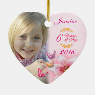 Girls Photo Ceramic Heart Ornament Keepsake