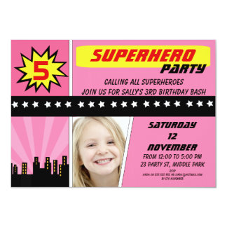 Girls Photo Superhero Birthday Invitation 11 Cm X 16 Cm Invitation Card