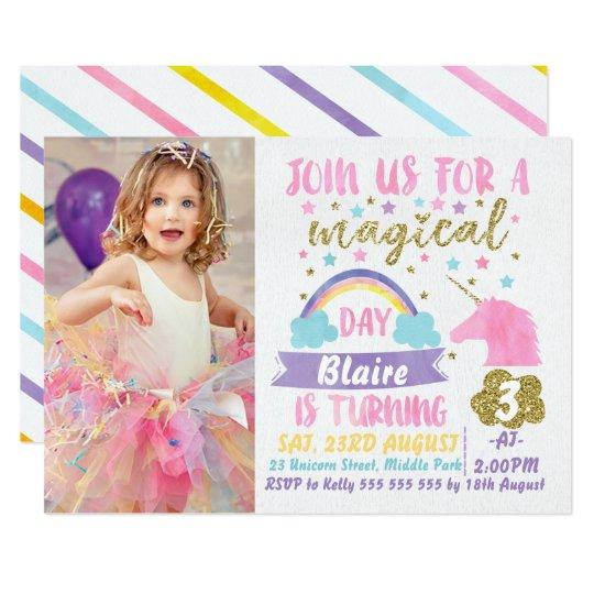 Girls Photo Watercolor Unicorn Birthday Invitation