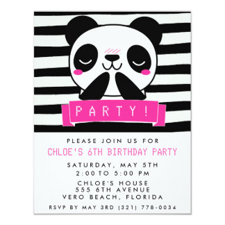 Girl's Pink and Black Cute Panda Birthday Party Card