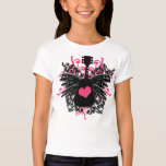 Girls Pink and Black Guitar with Angel Wings Shirt