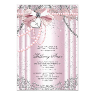 Girls Pink and Gray Pearl First Communion Card
