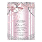 Girls Pink and Grey Pearl First Communion Card