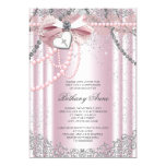 Girls Pink and Grey Pearl First Communion 13 Cm X 18 Cm Invitation Card