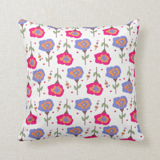 Girl's Pink and Purple Floral Pattern Pillow