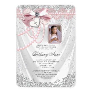 Girls Pink and White Satin Photo First Communion 13 Cm X 18 Cm Invitation Card