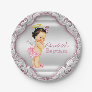 Girls Pink Angel Baptism Paper Plate