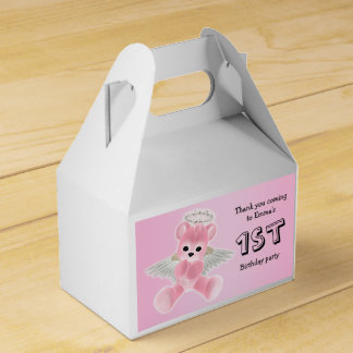 Girl's Pink Angel Teddy Bear 1st Birthday Party Favour Box