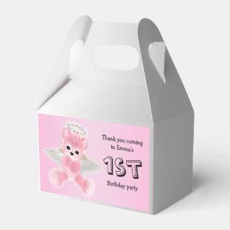 Girl's Pink Angel Teddy Bear 1st Birthday Party Wedding Favour Box