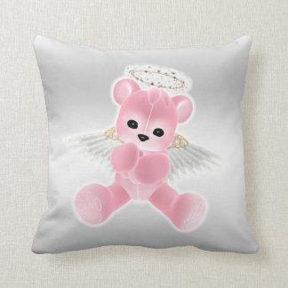 Girl's Pink Angel Teddy Bear Throw Pillows