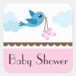 Girls pink baby shower blue bird stickers/seals