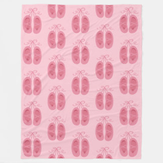 Girls Pink Ballet Toe Shoe Dancer Prima Ballerina Fleece Blanket