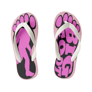 Girls Pink Bigfoot Forest Chasers Kid's Flip Flops