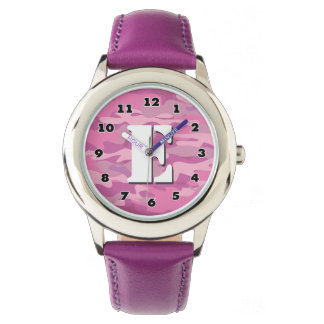 Girls pink camo watch with personalized monogram