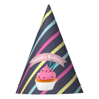 Girl's Pink Cupcake Baking Birthday Party Party Hat