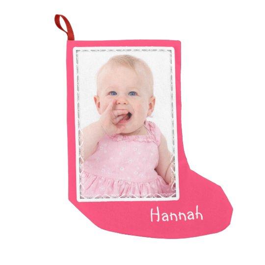 Girl's Pink Custom Photo Christmas Stocking