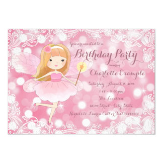 Girls Pink Fairy Princess Birthday Party Card