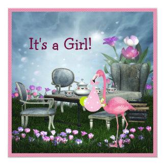 Girl's Pink Flamingo Wonderland Baby Shower 13 Cm X 13 Cm Square Invitation Card