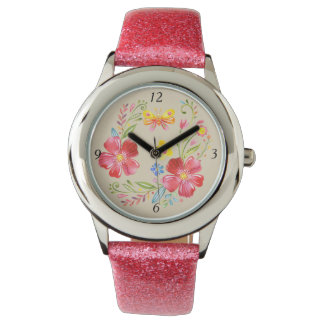 Girls Pink Flowers & Butterfly Watch