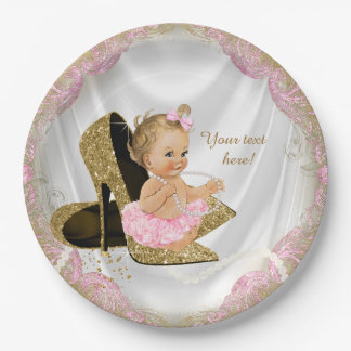 Girls Pink Gold High Heel Baby Shower 9 Inch Paper Plate
