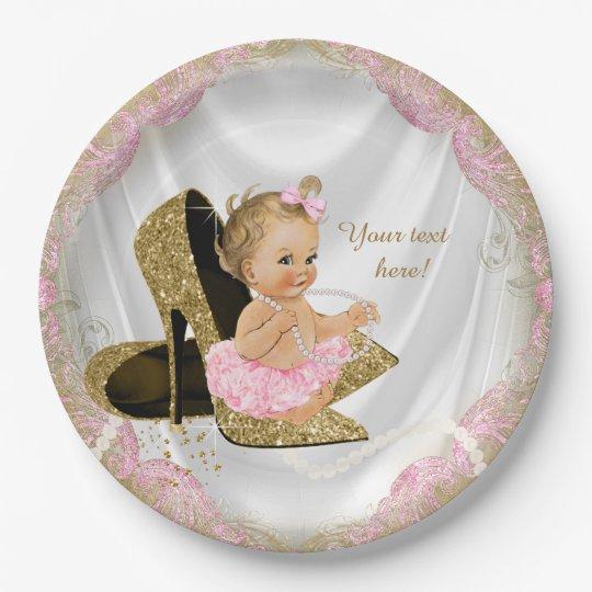 Girls Pink Gold High Heel Baby Shower Paper