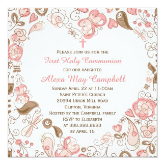 Girl's Pink Heart Floral First Communion 13 Cm X 13 Cm Square Invitation Card