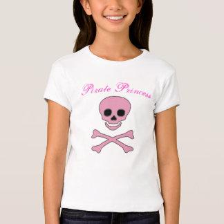 Girls Pink Jolly Roger Pirate Princess T-Shirt