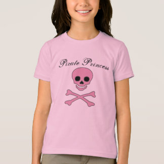 Girls Pink Jolly Roger Pirate Princess T-Shirt