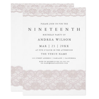Girls Pink Lace 19th birthday Party Invite
