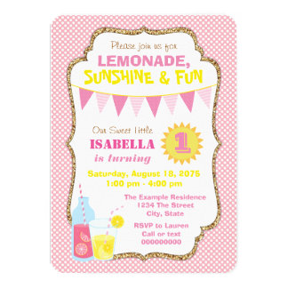 Girls Pink Lemonade Birthday Party Card