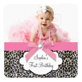 Girls Pink Leopard Birthday Party 13 Cm X 13 Cm Square Invitation Card
