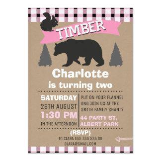 Girls Pink Lumberjack Birthday Invitation