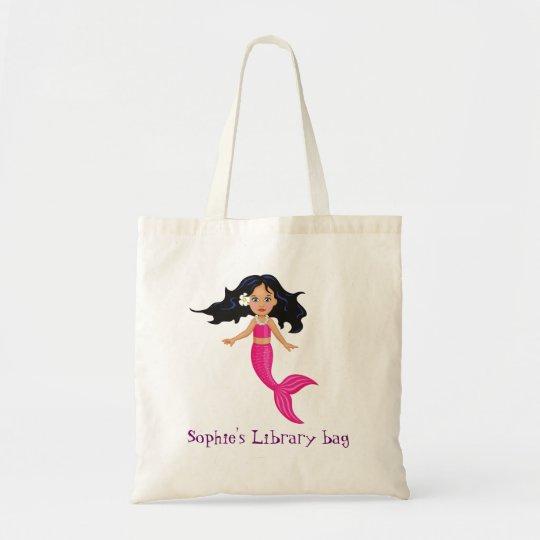 Girl's pink Mermaid name library bag