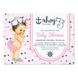 Girls Pink Navy Blue Nautical Baby Shower 11 Cm X 16 Cm Invitation Card