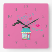 Girls Pink Paris Theme Personalised Square Wall Clock