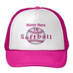 Girls Pink Personalised Softball Hats Custom