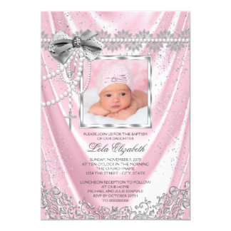 Girls Pink Photo Baptism Christening Satin Glitter 13 Cm X 18 Cm Invitation Card