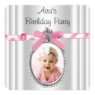 Girls Pink Photo Birthday Party Card