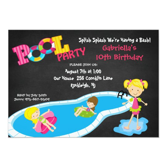 Girls Pink Pool Party Birthday Invitation